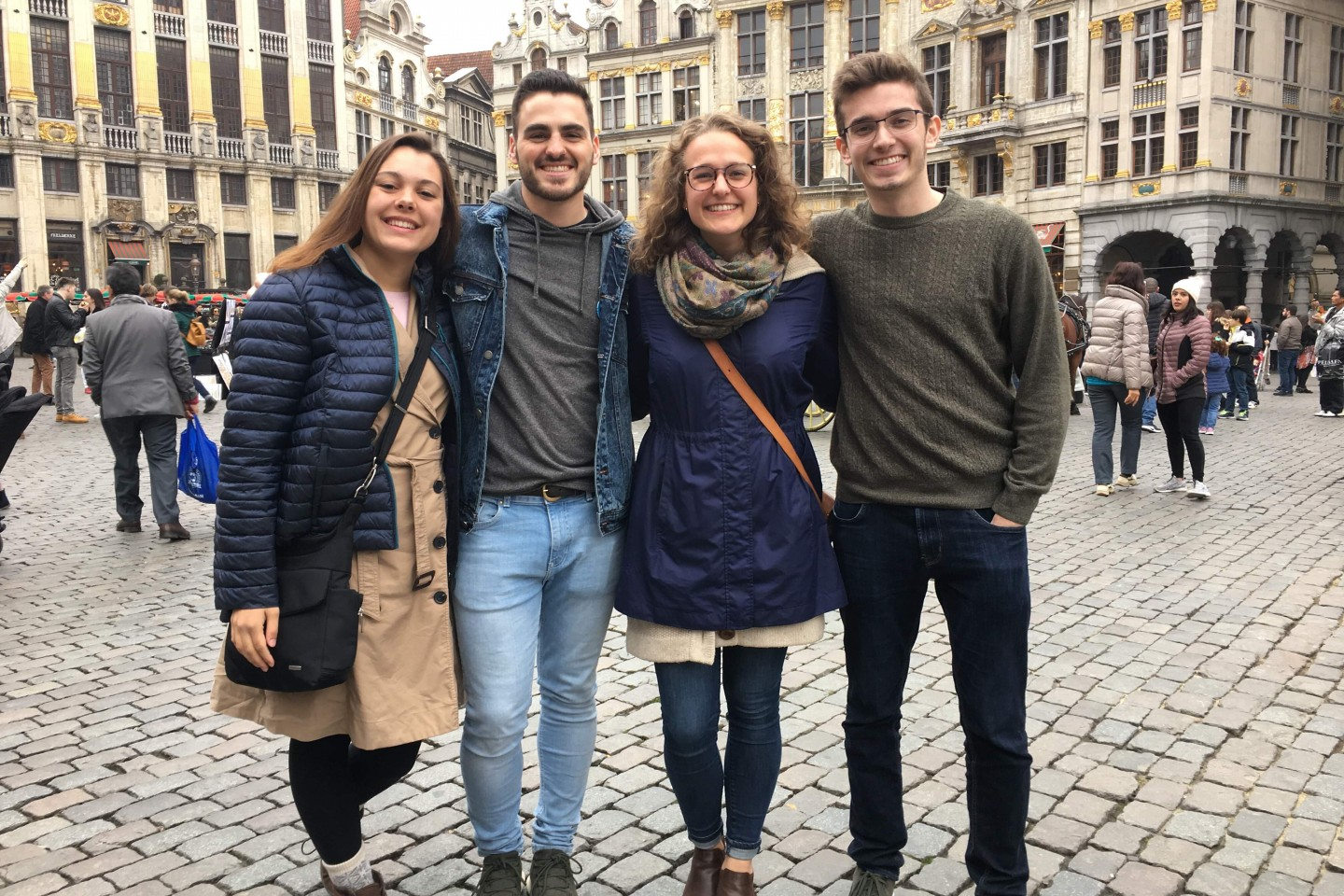 students abroad standing in plaza