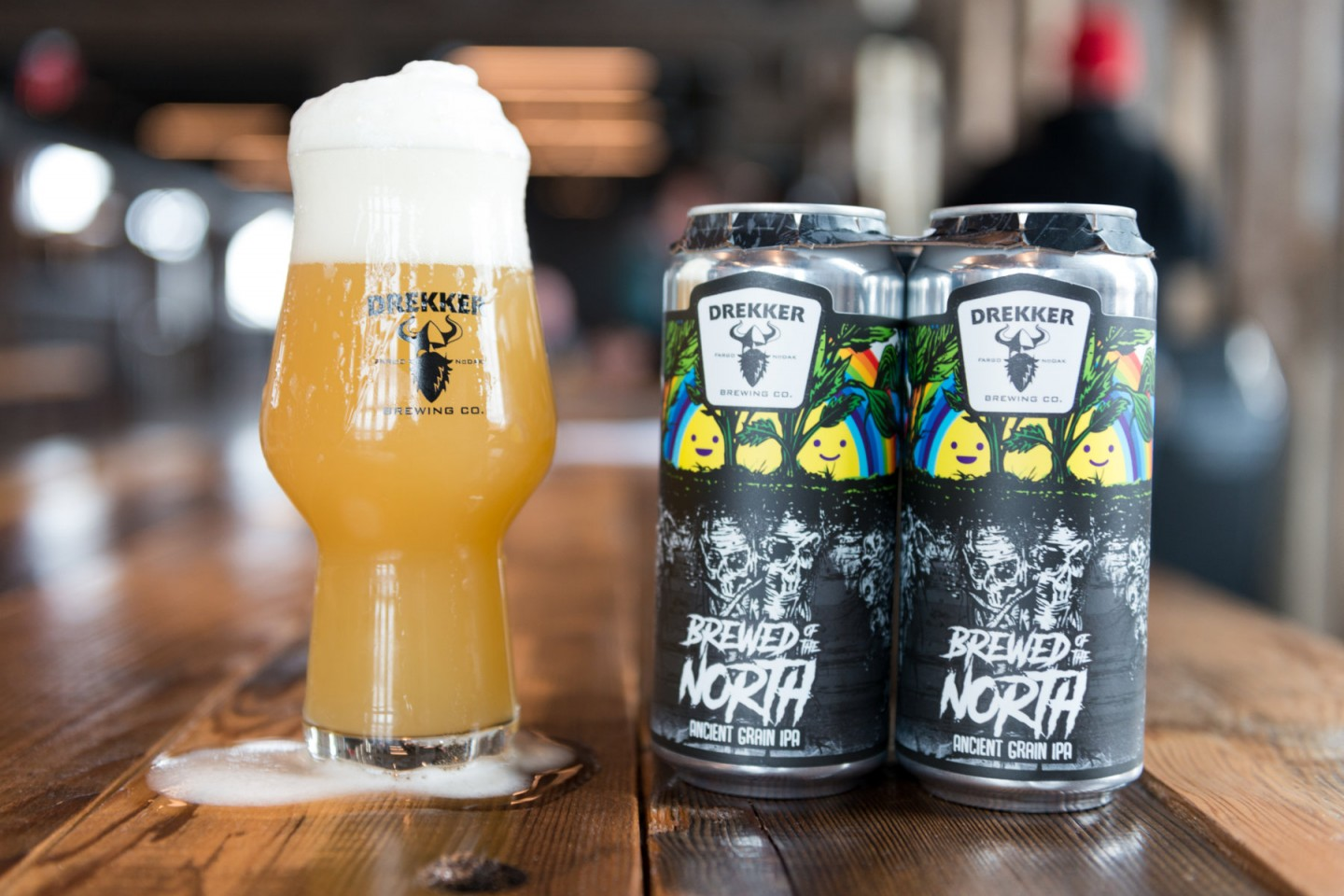 Brewed of the North cans and glass
