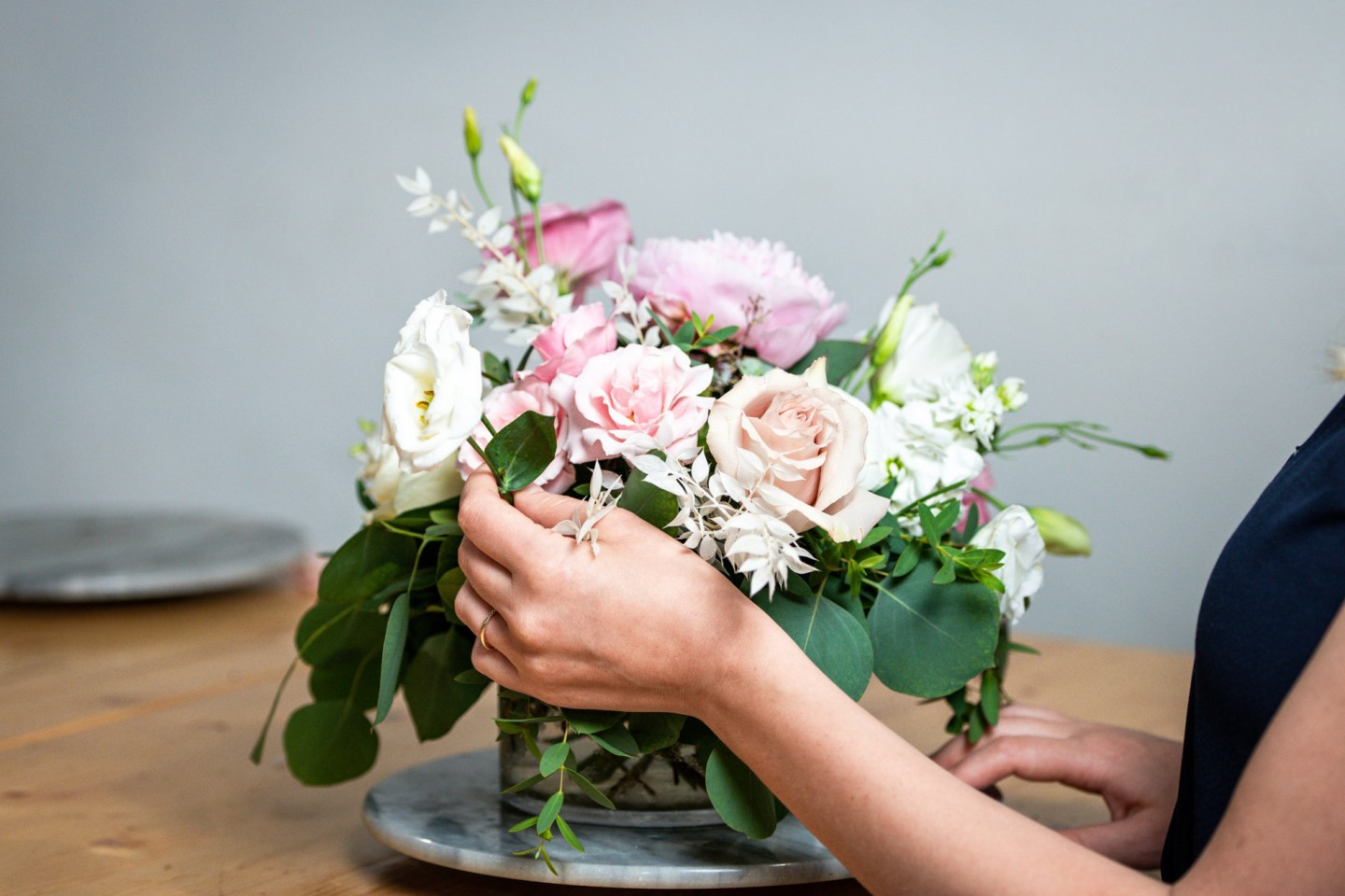 Floral arrangement with pink and white flowers
