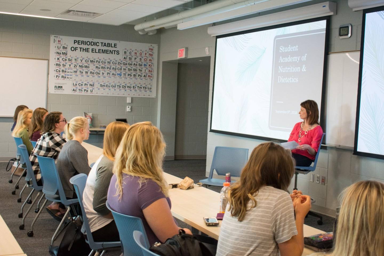 Katie Rizzo speaks in class in ISC