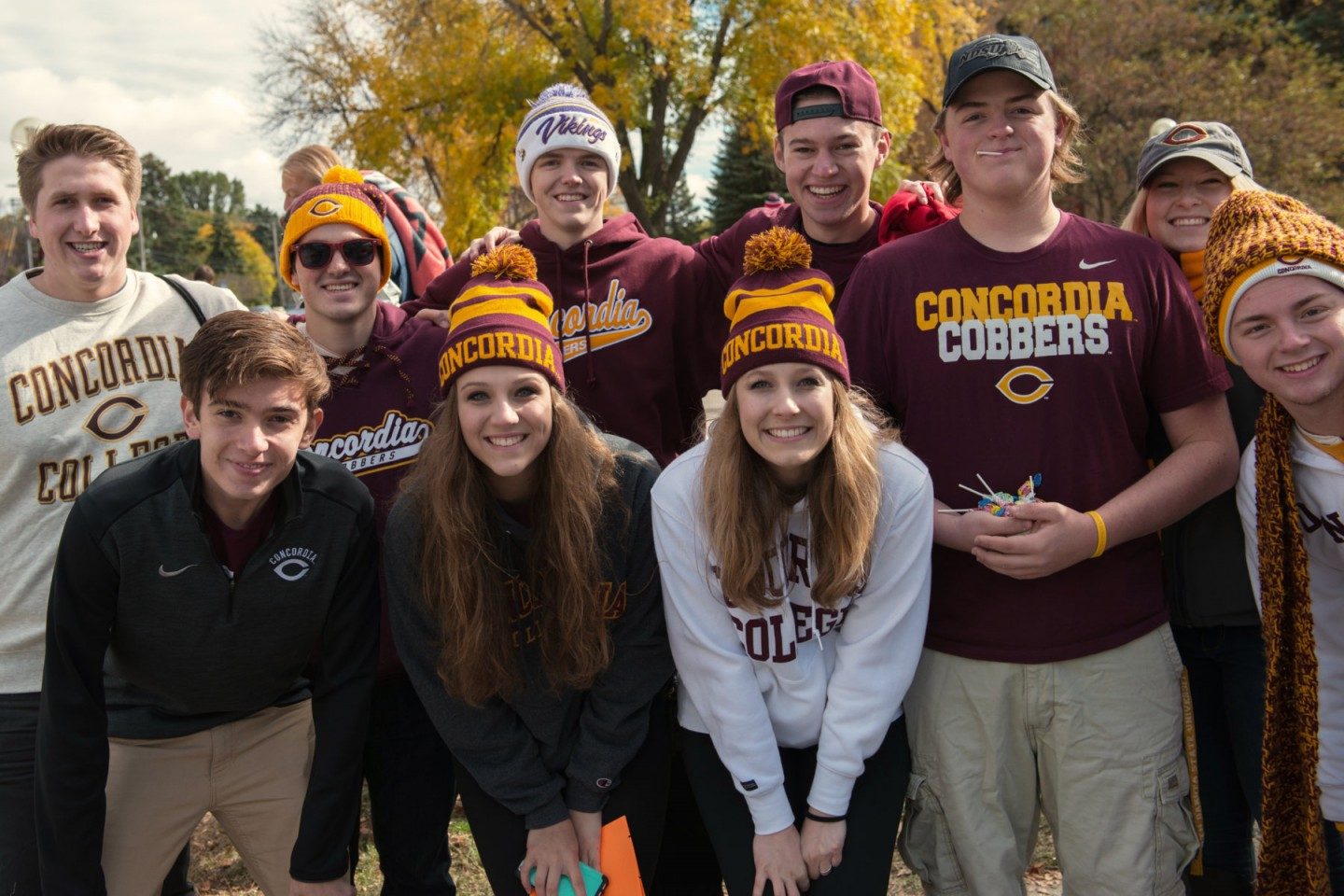 Students at Homecoming in Cobber gear