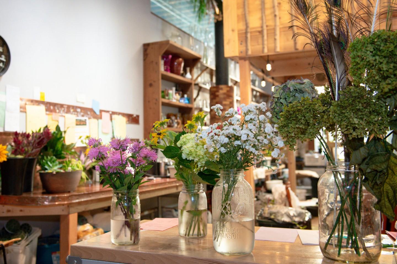Flower arrangements on a desk