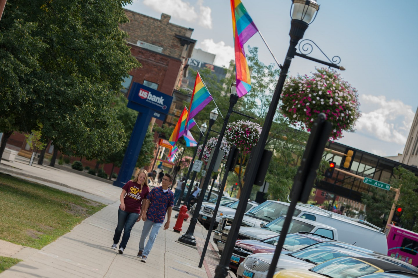 Pride flags in downtown Fargo