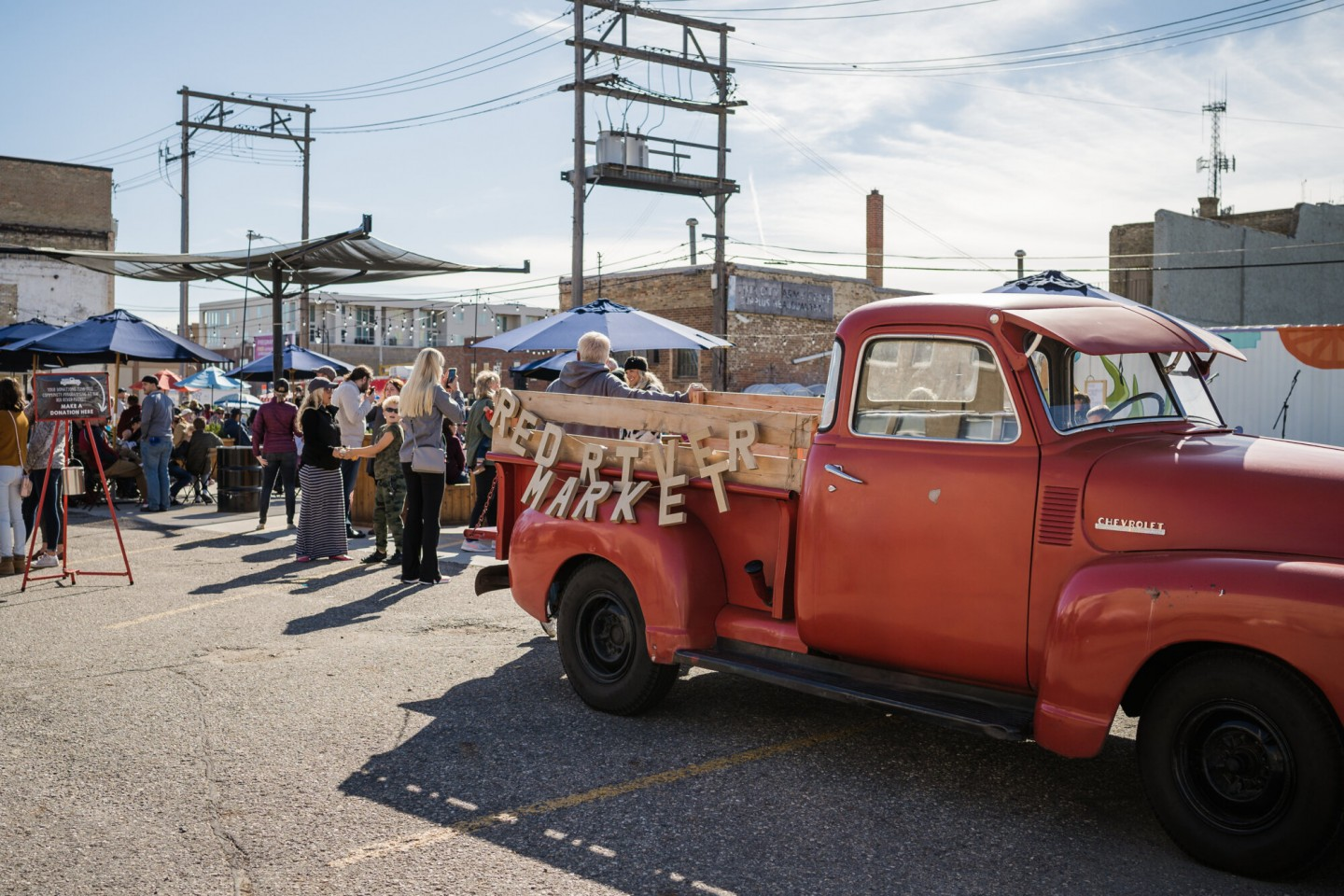 Red truck at Red River Market