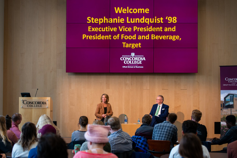 Stephanie Lundquist speaking in Barry Auditorium