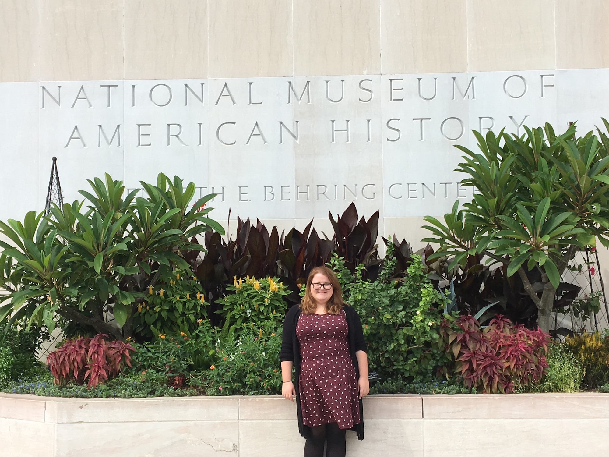 Collins in front of the Smithsonian National Museum of American History in Washington, D.C.