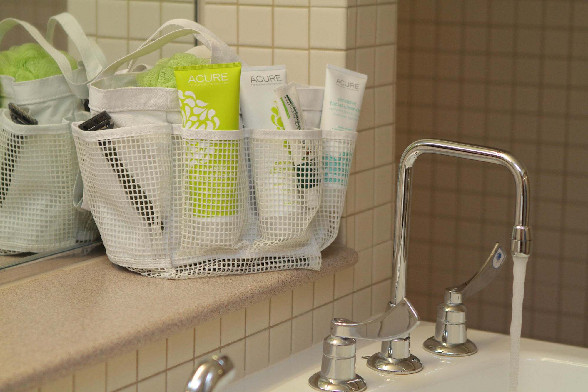 white mesh shower caddy