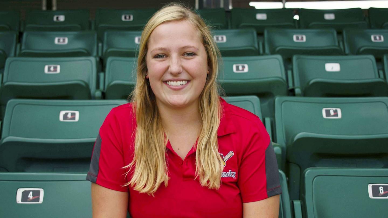 Alexa Merkens in green stadium seats